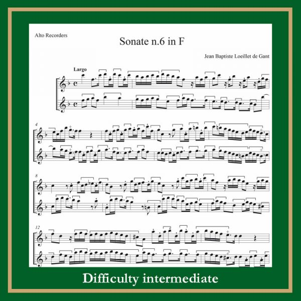 Loeillet Sonata n.6 in F for two Treble Recorders